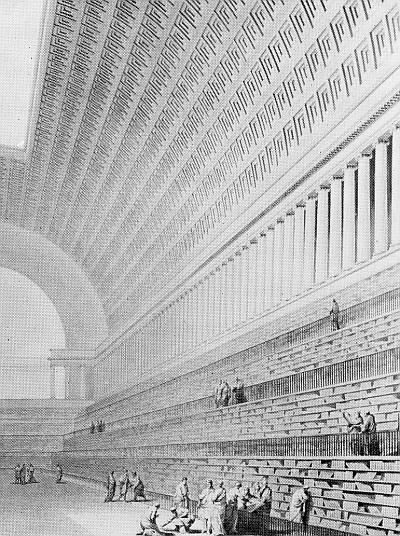 Der Entwurf der Nationalbibliothek in Paris von Boullee wird im Trimester 8 der Winckelmann Akademie fuer Kunstgeschichte Muenchen besprochen.
